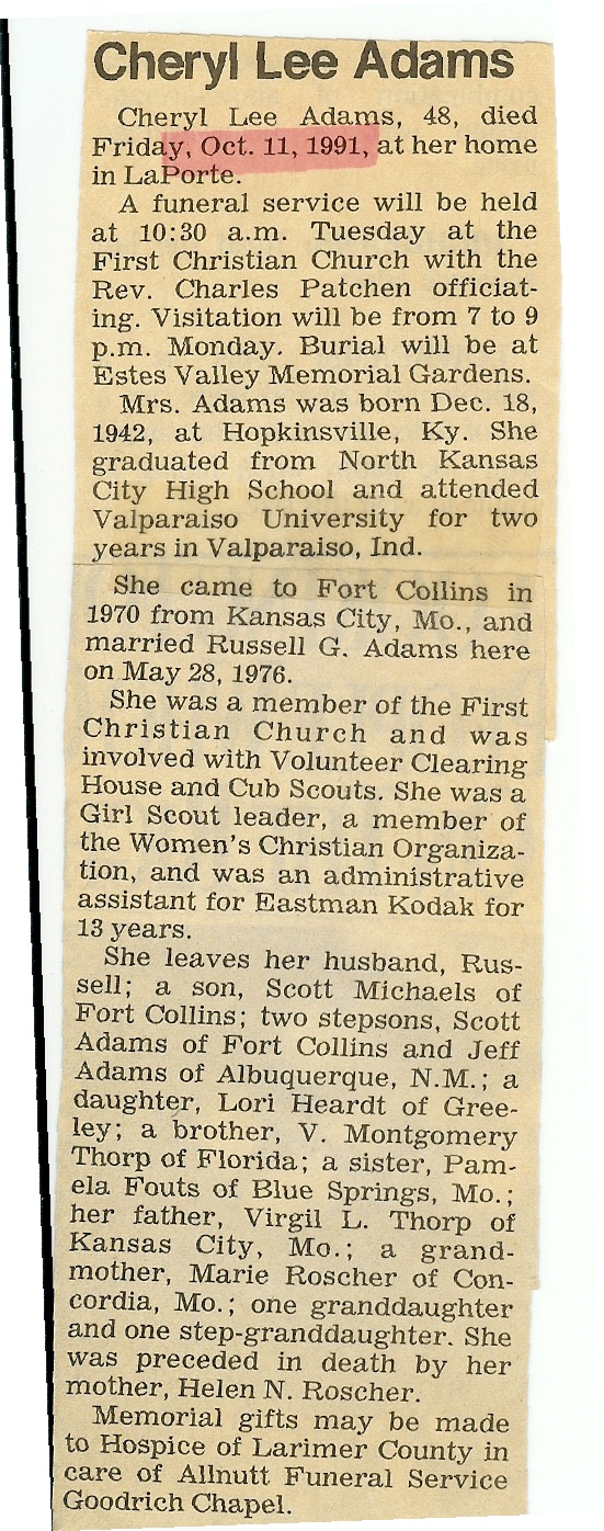 Obituaries – A – Larimer County Genealogical Society