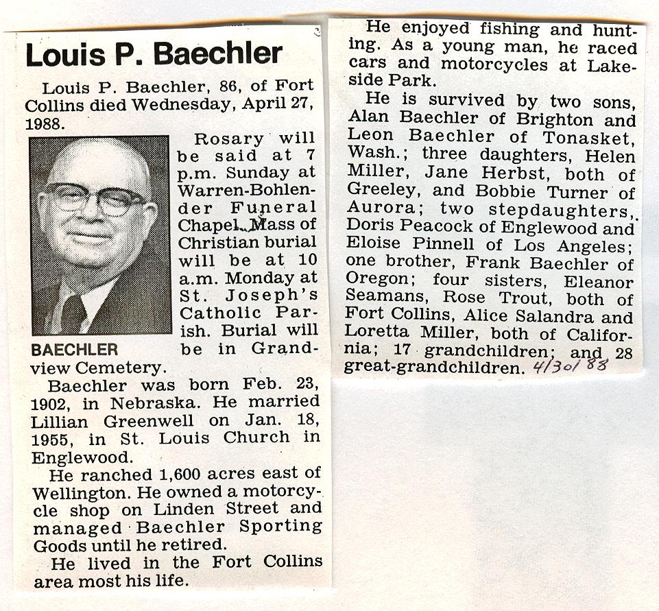 Obituaries – B – Larimer County Genealogical Society